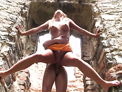 Ardent sex on ruins of ancient monastery with lovely redhead Chrissy Fox