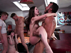 Cum dumpsters Charlotte Sartre and Cassie Right get double fucked in massive orgy