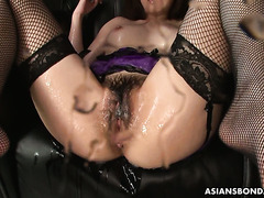 Japanese sweetie Sayaka Tsuji receives bukkake while squirting heavily
