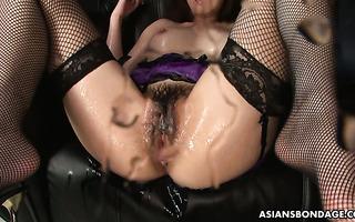 Japanese sweetie Sayaka Tsuji receives bukkake while squirting heavily