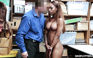 Thieving cashier Sarah Banks lets security guy pound her ebony ass in back room