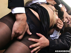 Angry neighbors toy fuck Japanese housewife Aoi Wajo and feed her with cum