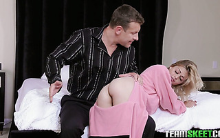 Mischievous stepdaughter Madison Hart takes punishment from stepdad