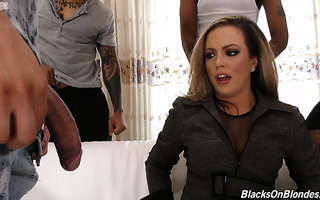 Programmer MILF Carmen Valentina is gangbanged by her clients