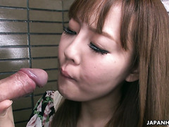 Cheeky Jap prostitute Nami Aoyama gives head to shy client