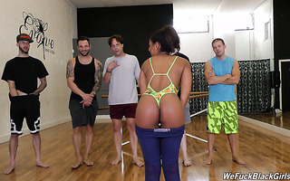 Zoey Reyes gets her black holes gang banged by five white cocks