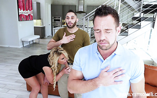 Stepdad shares his thick wife Phoenix Marie with stepson in 3some
