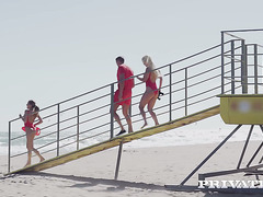 Sexy lifeguards Sienna Day and Silvia Dellai turn CPR in threesome