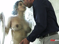 Molten hot Latina Sophia Leone enjoys fat cock after shower