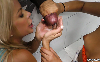 Big black cock in gloryhole makes Gina Valentina and Alexis Fawx happy