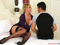 Cougar babe Dee Williams seduces handsome garden boy