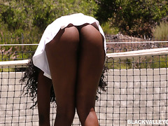 Hot ebony teen Daya Knight is tempted by stepdad's white cock