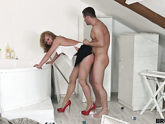Bitchy boss lady Anita is punish fucked in her ass by construction worker