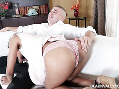 Hot black tutor Tiffany Nunez tempts white boy with her exotic pussy
