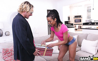 Kira Noir takes big white dick in a box up her black asshole