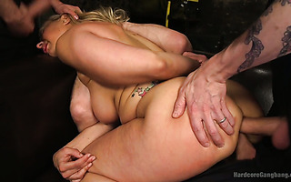 Bonny blond mom Angel Allwood is double fucked in rough gangbang