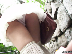Japanese girlfriend Tsukushi has a date in park with vibrator in panties