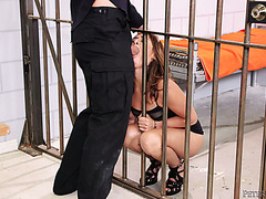 Hot jailed hooker Sara Luvv fucks her way out of prison