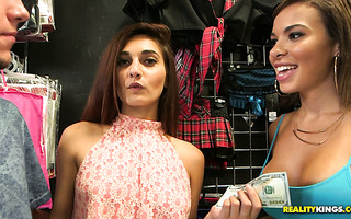 Cashier chicks Dylan Daniels and Michelle Taylor get nasty at working place