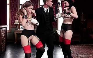 BDSM style threesome with fine babes Amarna Miller and Veruca James