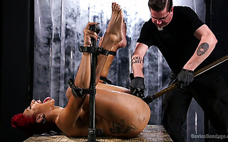 Series of hardcore squirting orgasms with Daisy Ducati in dark dungeon