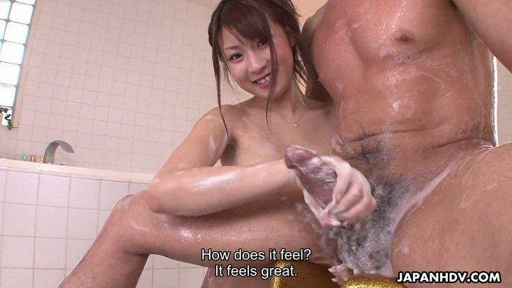 Cute Hitomi Kitagawa gives Japanese style handjob - POV