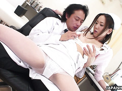 Timid Jap nurse Mika Kojima gets manhandled by pervy doctor