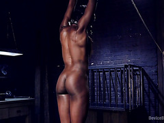 Fit black girl Ana Foxx is whipped and toyed in BDSM session