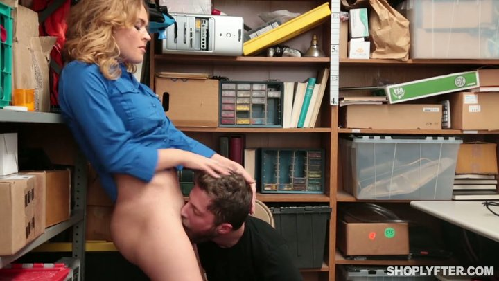 Security chick Krissy Lynn makes shoplifter fuck her mature pussy