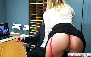 Slutty babe Natalia Starr fucks guy from security department