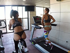 Susy Gala and Aysha get dicked in threeway after GYM workout
