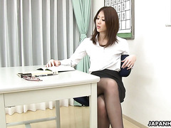 Japanese teacher Riko Miyase is orgasming on student's cock