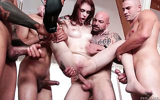Skinny Anna De Ville gets roughed in brutal anal gangbang