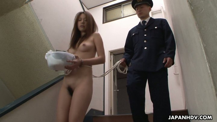 Japanese beauty is manhandled by warden in female prison