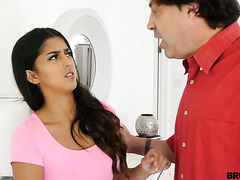 Disobedient Sophia Leone gets her Latina pussy screwed by stepdad