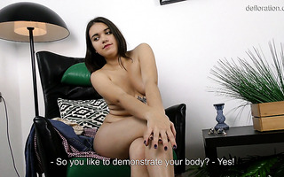 Exotic Russian virgin Rosa Esposito shows her hymen for money