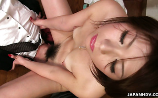 Office mistress Tsubaki is facesitting CEO with her bushy pussy