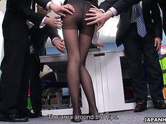 Asian office slut Nao takes creampie from boss and bukkake from workmates
