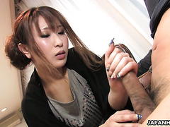Shy Japanese MILF Yuki Maya pampers small cock with handjob