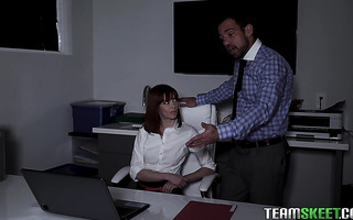 Ginger Alexa Nova enjoys late night anal sex at the office