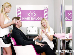 Hot blondies Vinna Reed and Cayla Lyons fuck client in barber shop