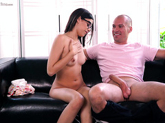 Exotic nerd Harmony Wonders encounters her first big white dick