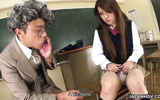 Shy and hairy Ria Sakurai is fucked by teachers in college