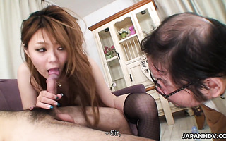 Hot wife Eri Aihara squirts in cuckold's face while fucking other man