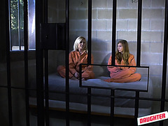 Spoiled stepdaughters Ava Parker and Summer Day are fucked in prison