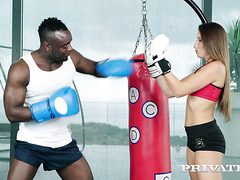 Clea Gaultier gets her asshole smashed by black boxer at GYM