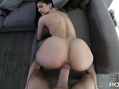 Eliza Ibarra deepthroats a giant cock and jiggle her buns in POV