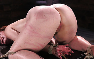 Ginger slave Barbary Rose gets her huge ass whipped badly