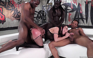 Henessy does anal and gets spanked in interracial gangbang