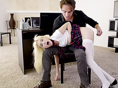 College shortie Piper Perri  is spanked and fucked as a punishment